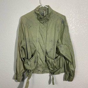 Free People Lightweight Distressed Green Jacket Sm